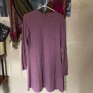 MOCK NECK LONG SLEEVE RIBBED SLIP DRESS
